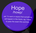 Hope Definition Button Showing Wishes Wants And Hopes